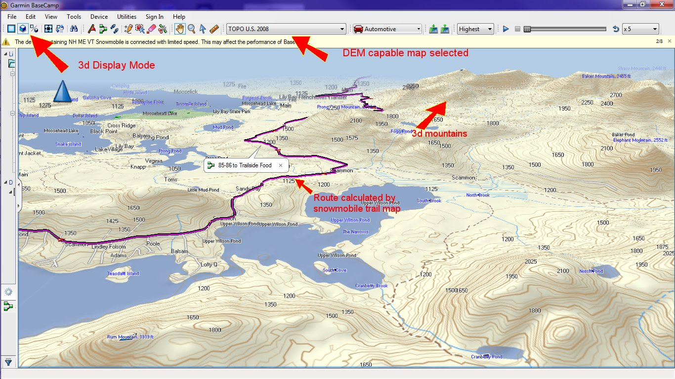 however if you switch the map selection to a dem enabled map such as garmin topo us 2008 you will see the route displayed with a true 3d display similar