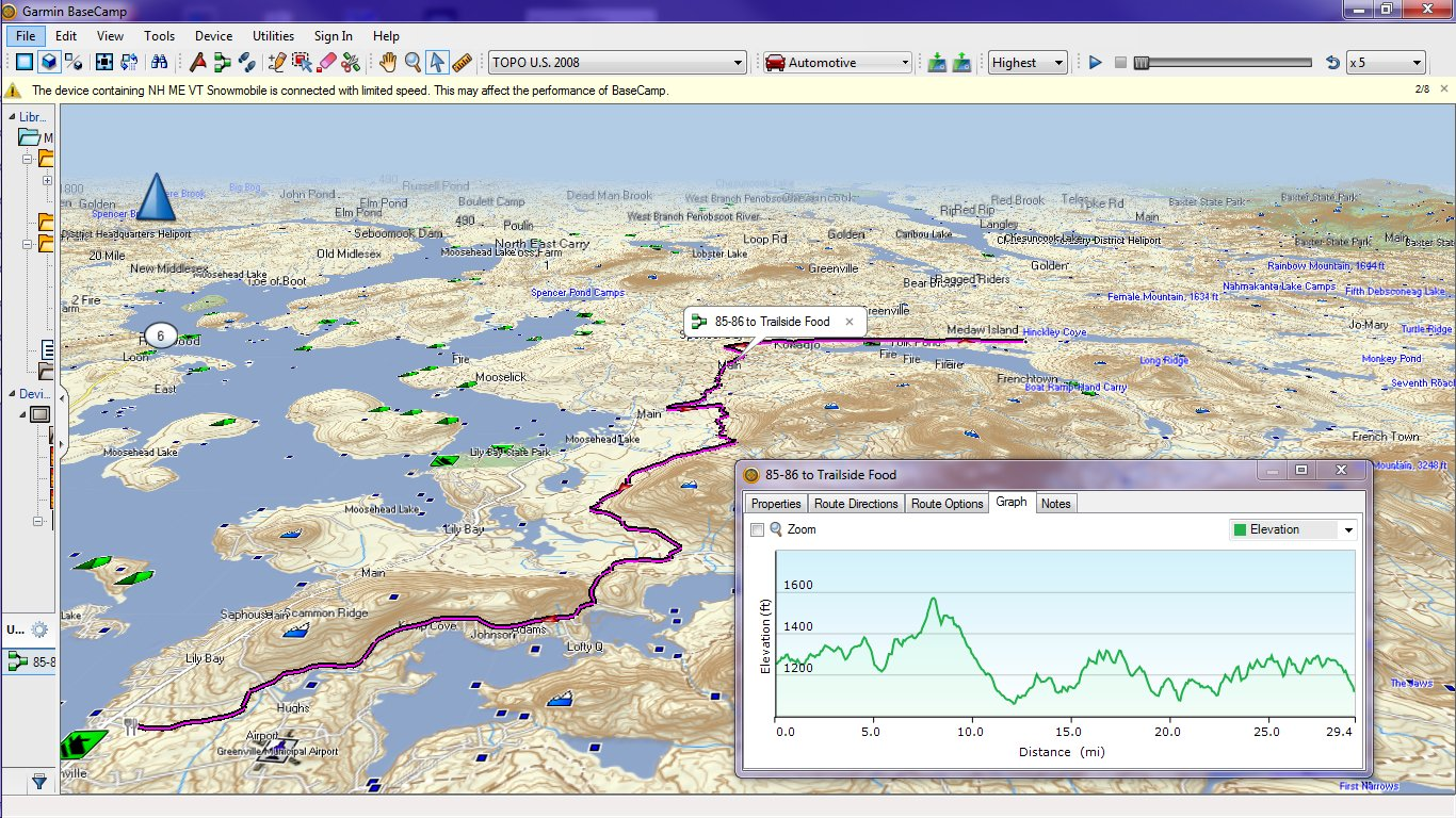 Garmin Topo Us 2008 Then The Route Acquires Elevation Information From The Underlying Topo Map And Can Display It As Depicted Below