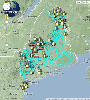 Maine routing snowmobile trail map for Garmin brand GPS units.