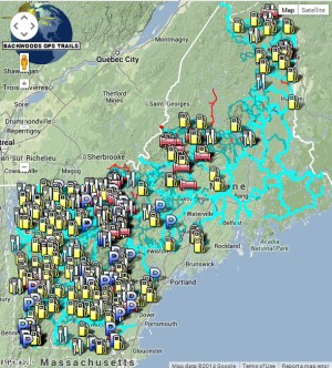 New Hampshire, Vermont, Maine routing snowmobile trail map for Garmin brand GPS units.